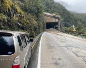 The rockfall at Arthur's Pass on Monday. Photo: Supplied