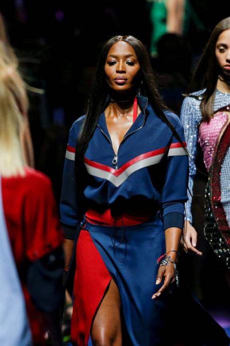 Naomi Campbell presents a creation at the Versace fashion show during Milan Fashion Week. Photo...