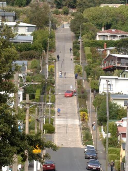 Baldwin St is the world's steepest. Photo: ODT files
