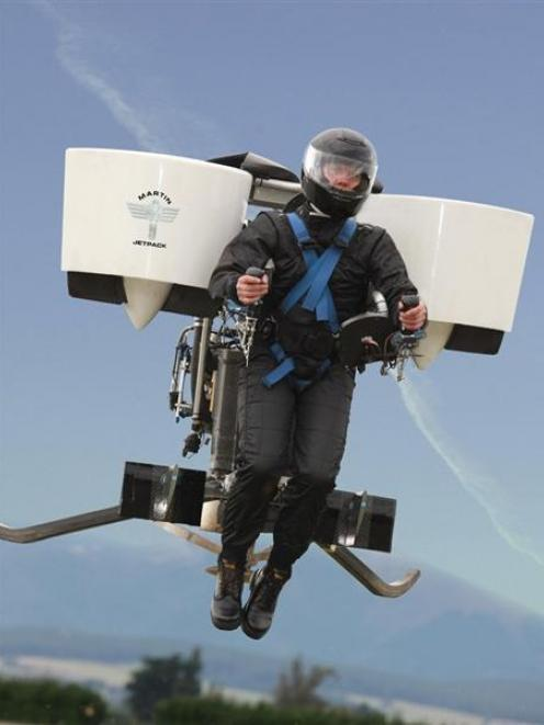Glenn Martin takes his jetpack for a test flight.