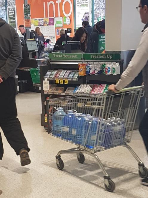 Bottled water was a popular item with Dunedin shoppers yesterday. Photo: Louise Frampton