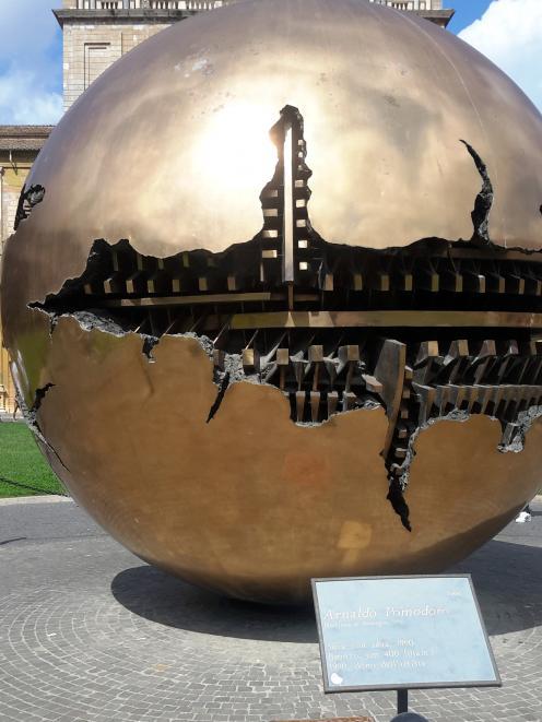 Art on a boulevard inside the Vatican. PHOTO:  TONY NIELSEN