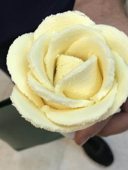 A lotus flower sculpted from durian ice cream.