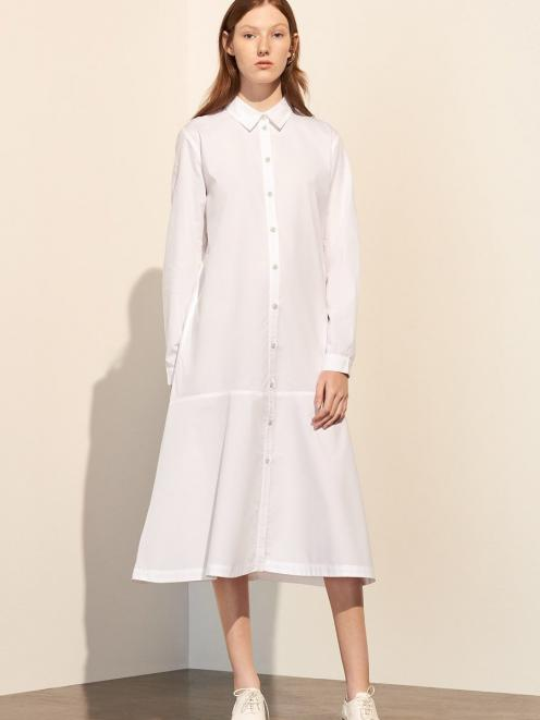 Kowtow's Monologue shirt dress in white.