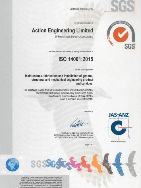 ISO 14001 accreditation for Environmental Management is just one of Action Engineering's...