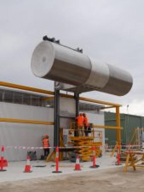One of the seven cylindrical screens, each 2.1m in diameter and 8.5m long, that will make up the...