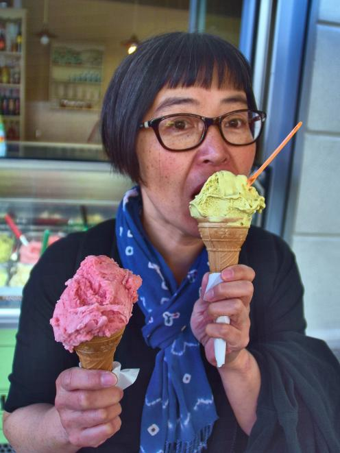 My partner, Haruko, enjoys gelato ice-cream. One of them is mine.