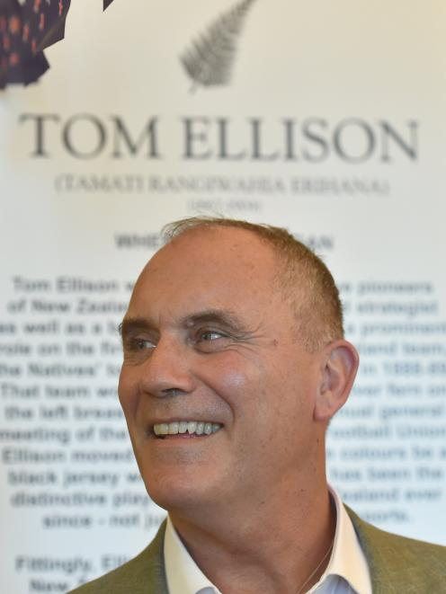 American football star Riki Ellison at the Sports Hall of Fame in Dunedin on Monday, beside a...
