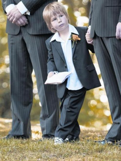 The young ringbearer at the wedding of Grant and Jacinta Pellow at Wanaka Station Park in November last year. Photo: Aspiring Photography