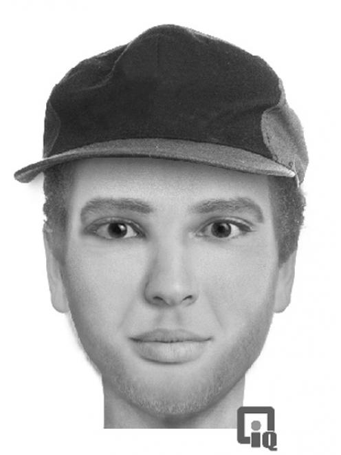 A police sketch of the man who allegedly attacked a 25-year-old woman in Dunedin on Saturday night.