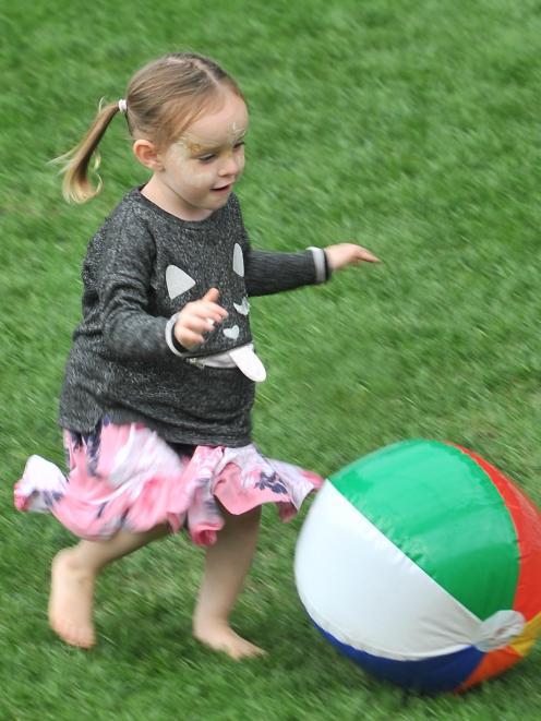 Maia Baker, of Dunedin, runs around during ''Christmas at the Stadium''.