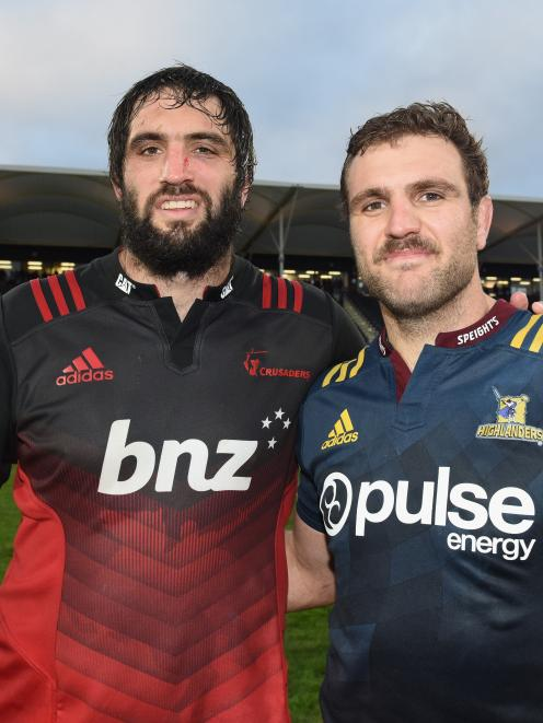 Sam and Luke Whitelock during the Super 15 competition earlier this year. Photo: Getty Images