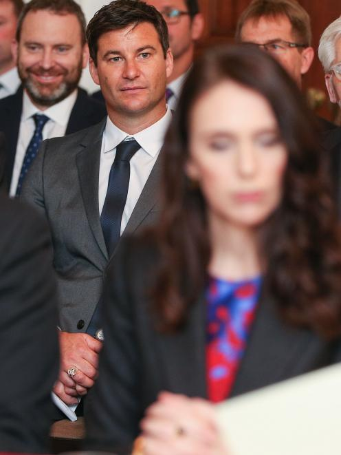 Jacinda Ardern's partner, Clarke Gayford (centre), attended the ceremony. Photo: Getty Images