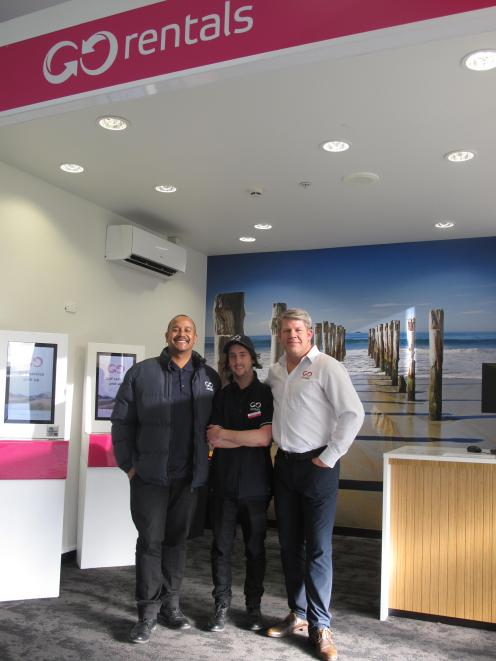 Go Rentals Dunedin Airport branch manager Raul Baradat, customer service representative Jack...