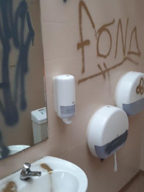 A toilet block was tagged. Photo: Waitaki District Council