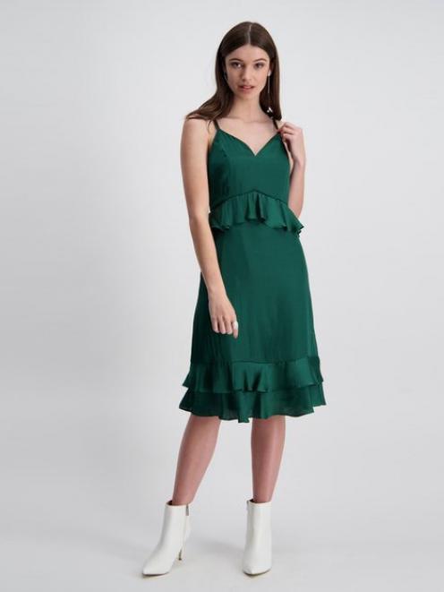 Storm Satin Midi frill dress