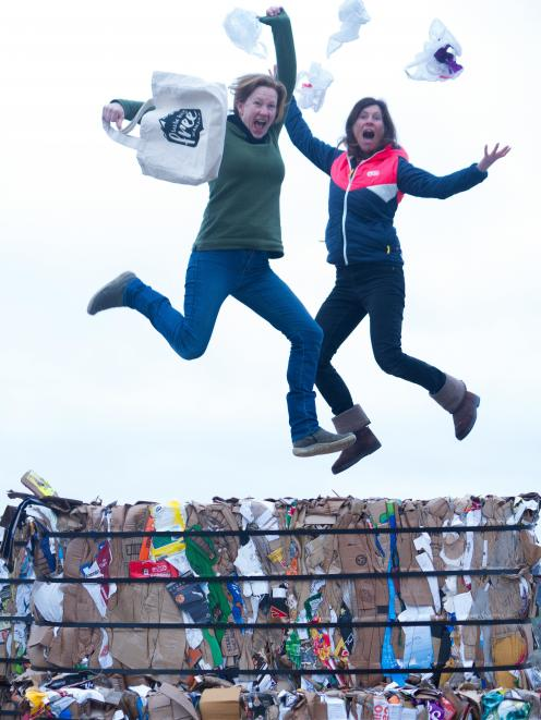 Plastic bag free campaigners Sophie Ward and Gina Dempster jump for joy over the Government's...
