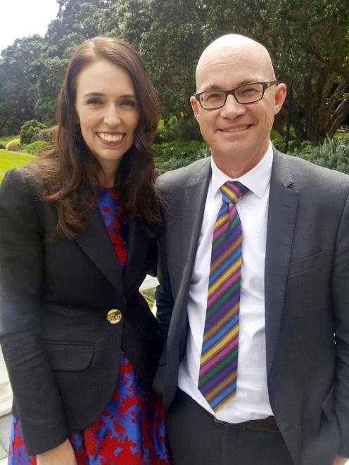 Jacinda Ardern with her former history teacher, Gregor Fountain, now principal of Wellington...