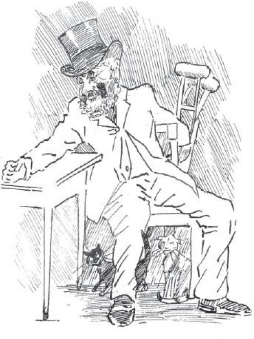 Jock Graham in old age, with crutches and cats, drawn by Fred Rayner in 1893. IMAGE: HOCKEN...