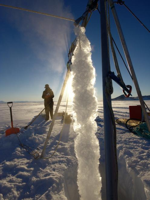 Platelet ice that has formed on a rope at depth is drawn to the surface. PHOTO: ANDY MAHONEY