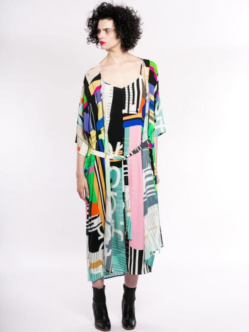 Maaike Parallel robe styled with Maaike ultraviolet dress
