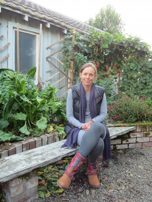 Nisha Duncan in the permaculture garden.