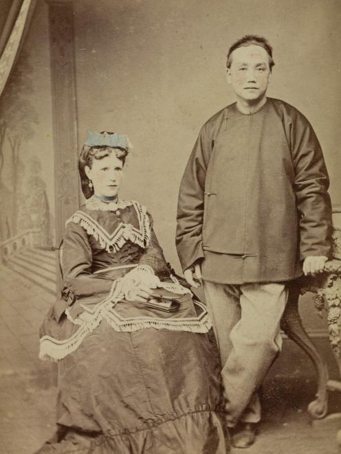 Choie Sew Hoy and his wife Eliza Prescott, c1886. PHOTO: ROBERT CLIFFORD PHOTOGRAPH, P2019-027...