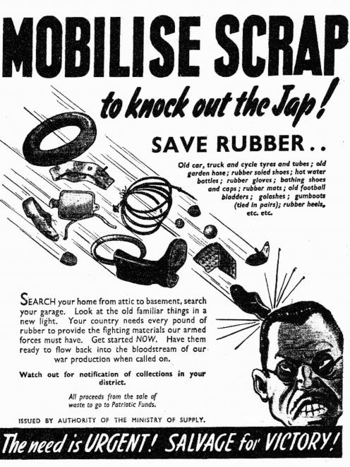 Rubber recycling promoted in an advertisement by the Ministry of Supply in The Press, November 1942. Photo: supplied