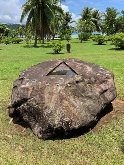 The ceremonial stone of Taputapuatea, a modern-day shrine.