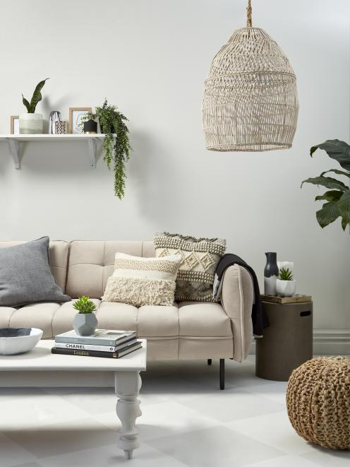 Tranquil, peaceful, this pale lounge shows off cosy textiles and boho-style natural weaves. Pink...