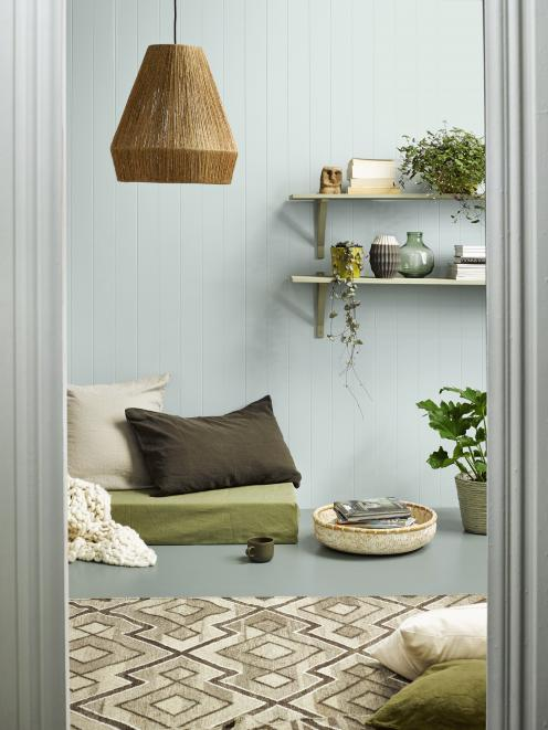 Resene Duck Egg Blue wall with floor in Resene Inside Back and door frame in Resene Black White.