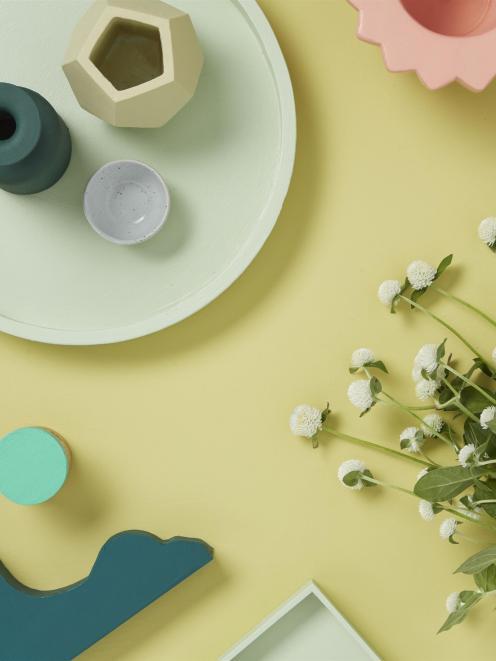 Background in Resene Elderflower with stencilled 'tiles' in Resene Peace, A4 drawdown painted...