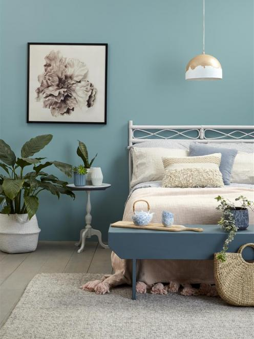 Walls Resene Juniper; floor Resene Colorwood Mid Greywash; headboard Resene Dover White; bench...