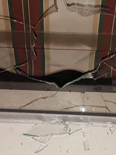 A home in Bishopdale also has a rock thrown through the window. Photo: Supplied