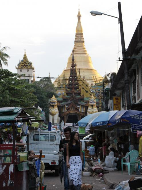 The towering Shwedagon Pagoda, in Yangon, is one of the most sacred sites in the Buddhist world....