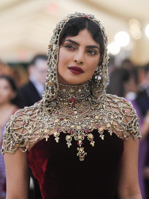 Actress Priyanka Chopra wore a Crusades-inspired dress to the gala. Photo: Reuters