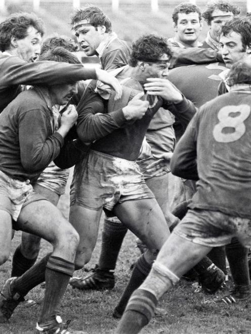 Otago player Mark Hudson carries the ball during the 1981 game against the Springboks at...