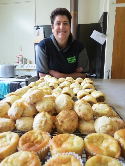 Jude Gamble likes to make sure the shearers and other wool harvesting staff under her care at Dion Morrell's Lawrence site are well fed. As well as two large meals, she also makes smokos and lunches for them. PHOTO: YVONNE O'HARA