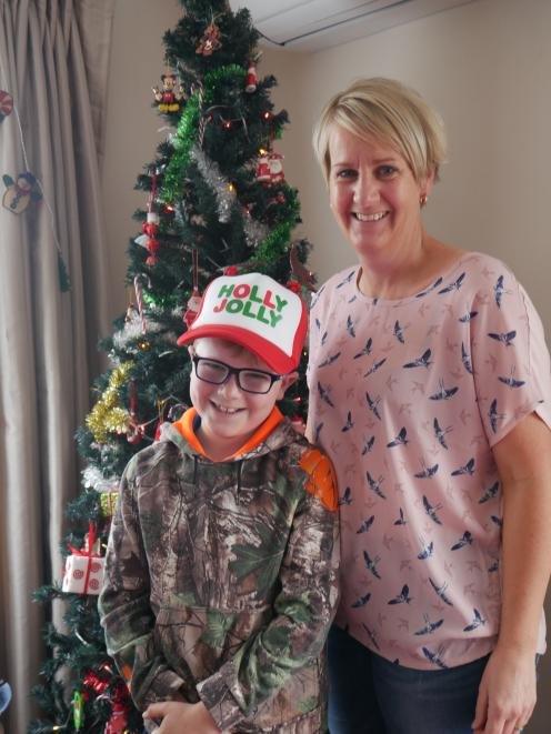 Jan Robertson and son Hayden (8) have decorated  their Barr St home. PHOTO: JESSICA WILSON