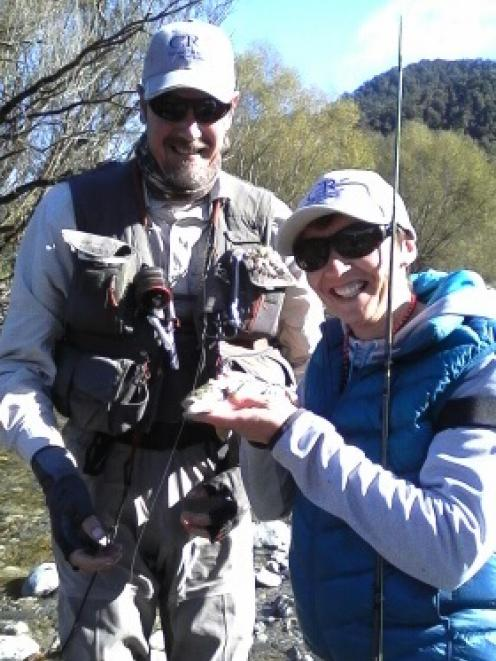 Lisa Brits and guide Russell Kennedy at the Owen River retreat last year. PHOTO: SUPPLIED