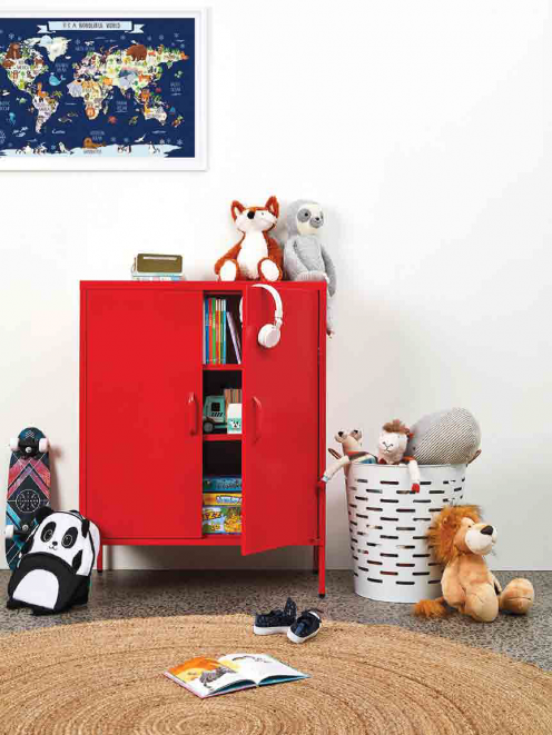 This stylish metal cabinet features two opening doors with strong handles, a shelf safety weight...