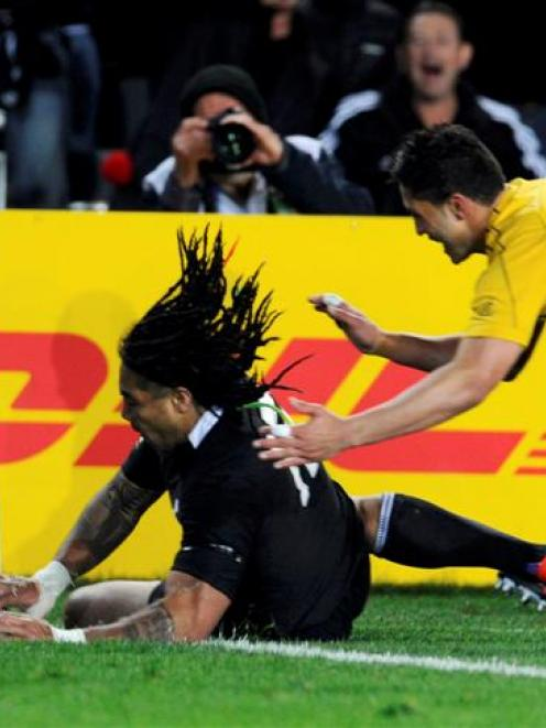 Ma'a Nonu crosses for the only try of the first half. Photo Reuters