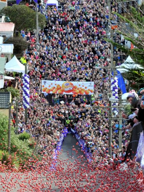 Jaffas flood down Baldwin St to the waiting crowds during the Cadbury  Jaffa Race yesterday....