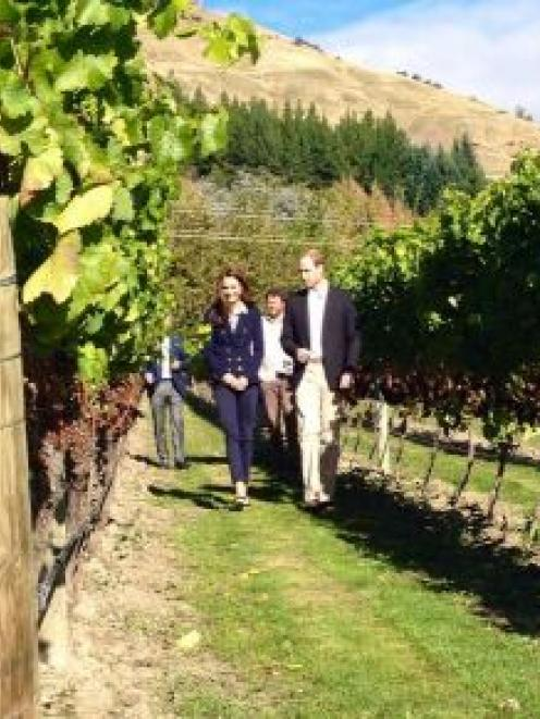The royal couple stroll through the vines at Amisfield Winery.   Photo NZ Governor General