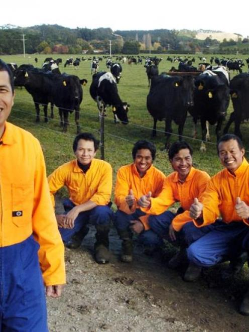 Six of the seven Filipinos who work on Greg and Kelly Kirkwood's North Otago dairy farm are (from...