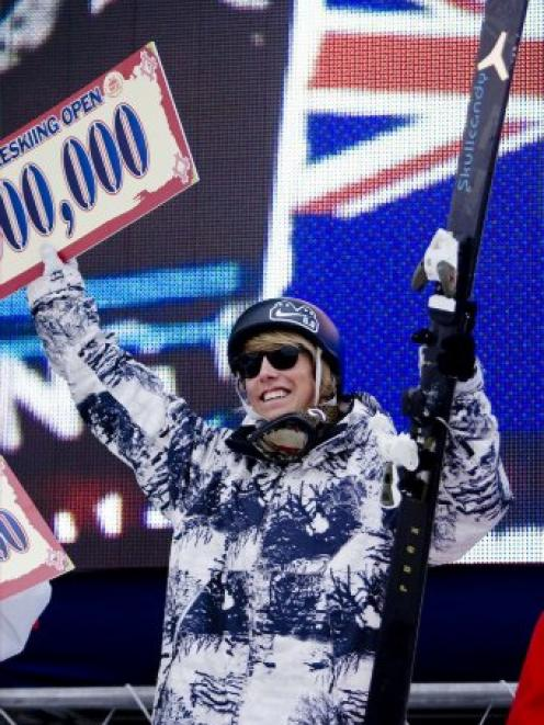Wanaka skier Jossi Wells celebrates after winning the world superpipe title in Park City, Utah.