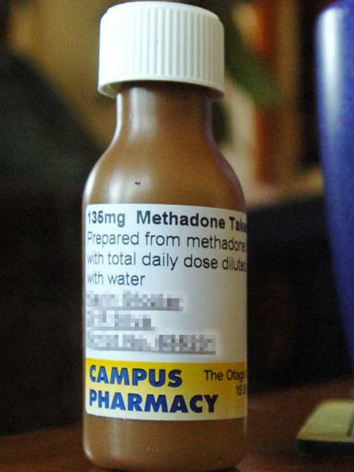 Methadone dispensed to a user by a pharmacy. Photo: ODT files.
