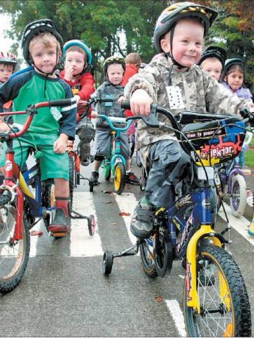 Ready to go: Children from Oxford Kindergarten braved the threat of bad weather and spent two...