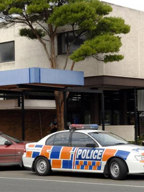 Police investigate the scene of a recent robbery attempt at a BNZ branch.