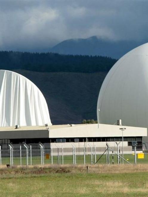 The damaged inflatable cover on the satelite dish at Waihopai Spy Base, after activists delated...